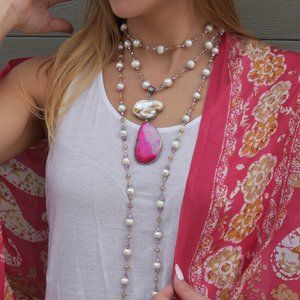 Long Triple Genuine Pearls Necklace